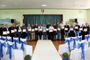 Os homenageados da Sessão Solene, Ex-Vereadores do Município.
